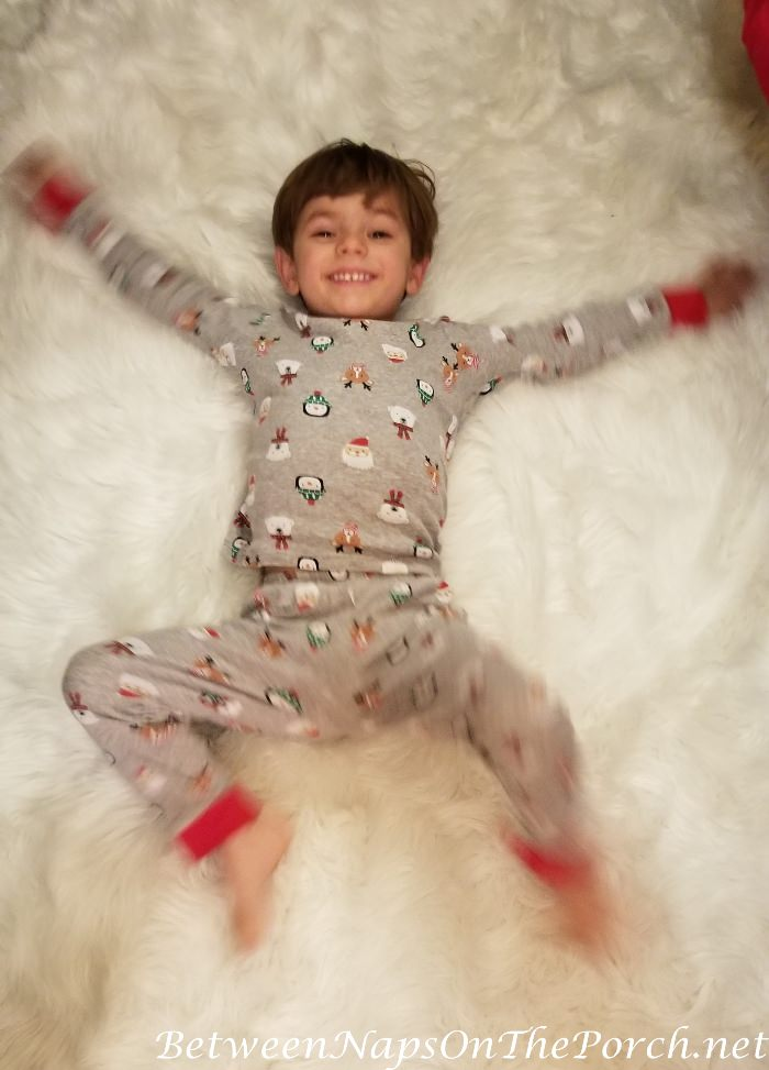 Making Snow Angels on a White Furry Rug