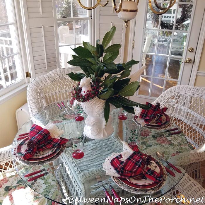 Tartan Christmas Table with Magnolia Pheasant Centerpiece