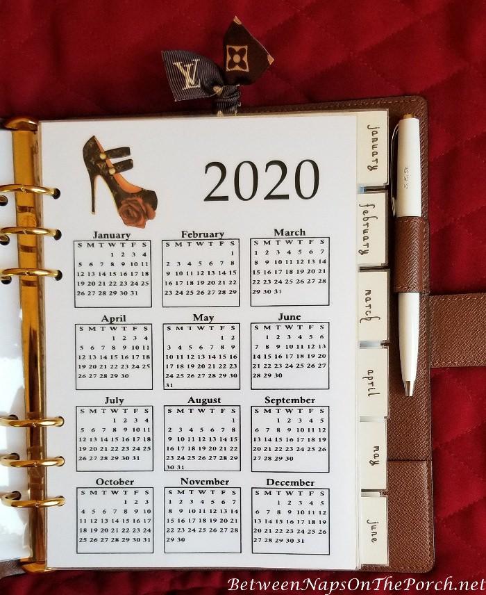 2020 Calendar for Agenda