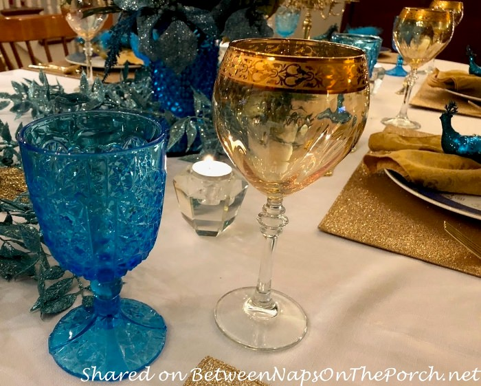 Blue Glassware, Gold Stemware