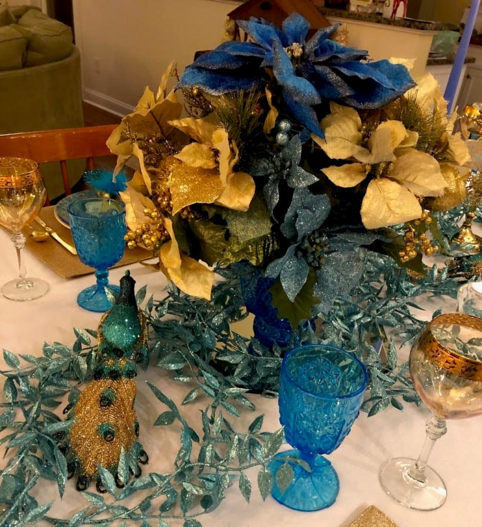 Blue and Gold Floral Centerpiece