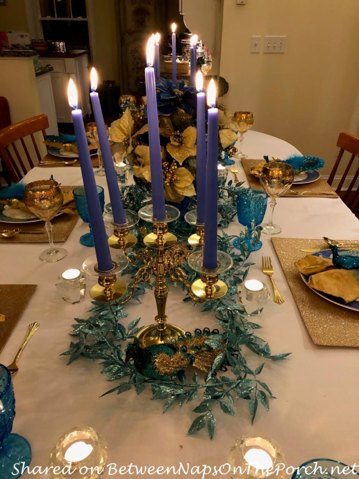 Candlelight Table in Blue and Gold