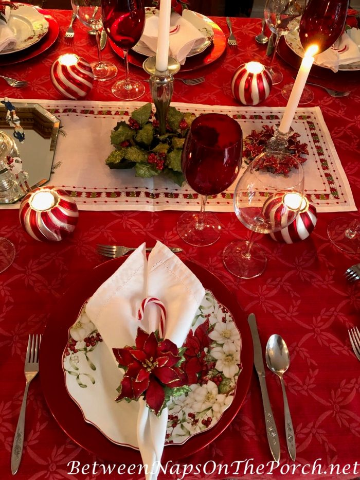 Christmas Candy Cane Tablescape