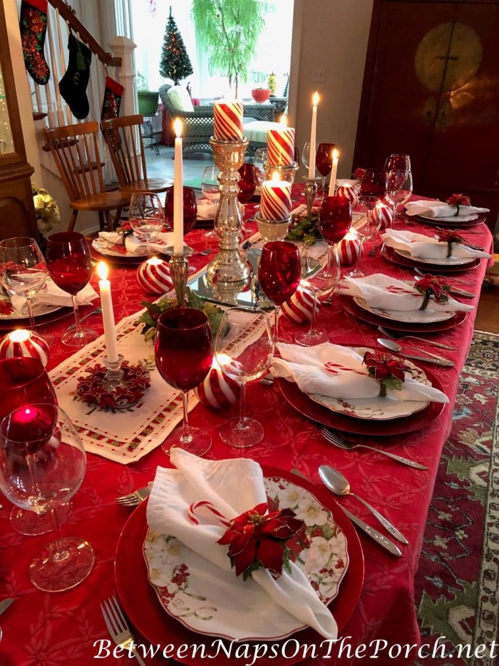 Christmas Table in Red, White, Candy Cane Theme