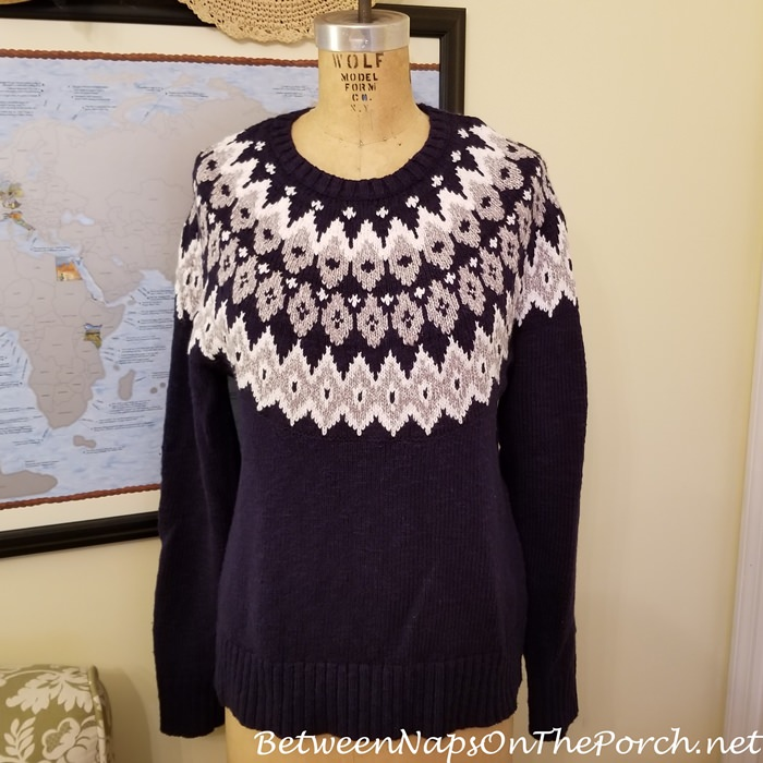 Fair Isle Sweater, Navy, White and Gray