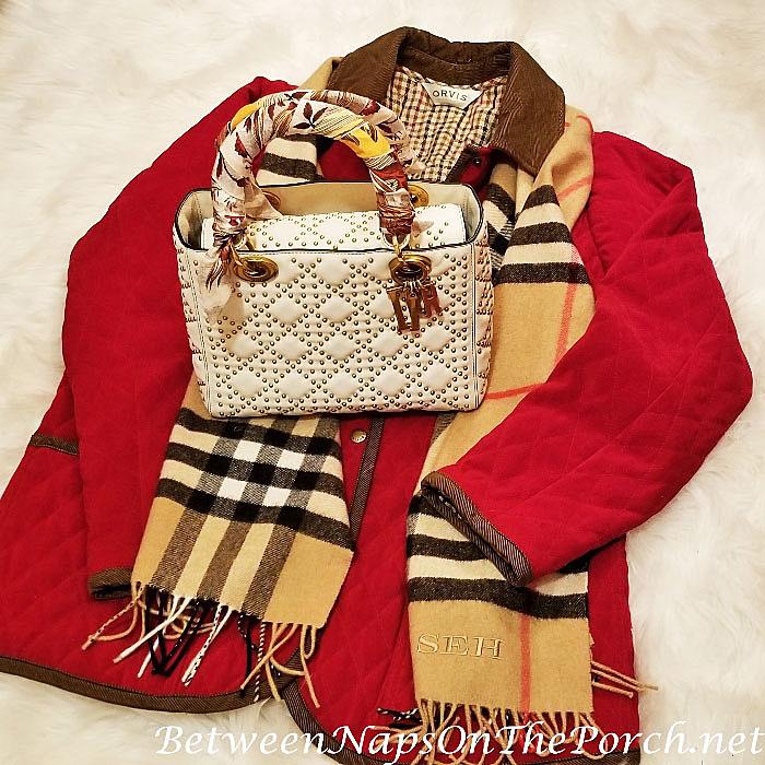 Lady Dior Studded Bag Christian Dior Mitzah Scarf, Orvis Barn Coat, Burberry Scarf