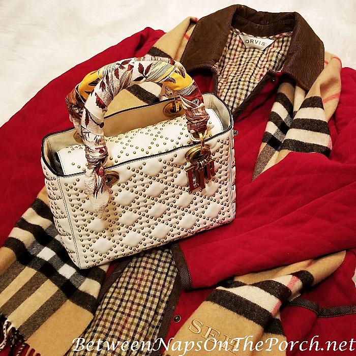Lady Dior Studded Bag with beige Le Phoenix de Christian Dior Silk Mitzah Scarf