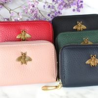 Leather Card Holder, Pink, Red, Green, Navy, Black
