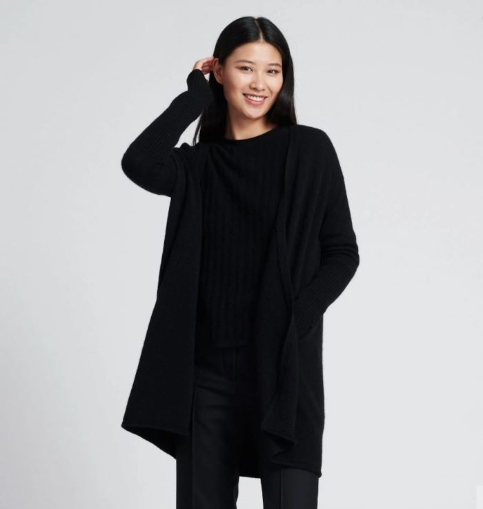 Long Black Cashmere Sweater on sale