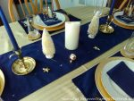 A Beautiful Wintry Tablescape in Navy, White and Gold