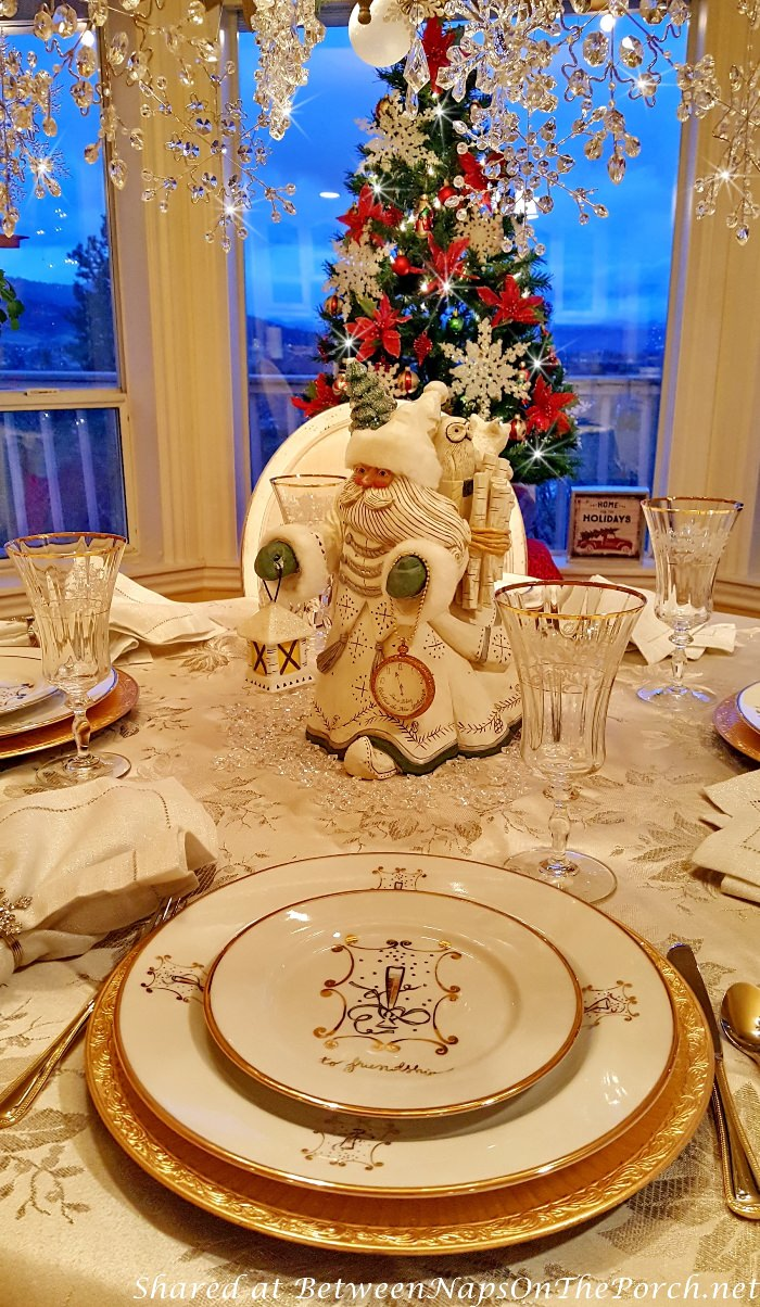 New Year's Day Tablescape with Snowflake Santa Decorations
