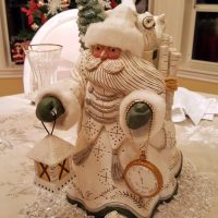 Pam Schifferl Santa Figure with Lantern and Clock