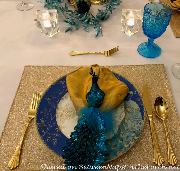Peacock Dinner Plate, Gold Placemat, Gold Flatware