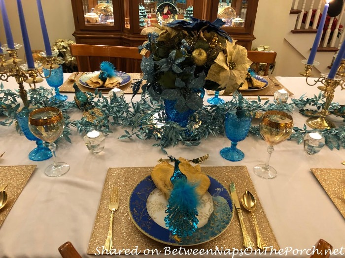 Peacock Themed Table in Blue and Gold