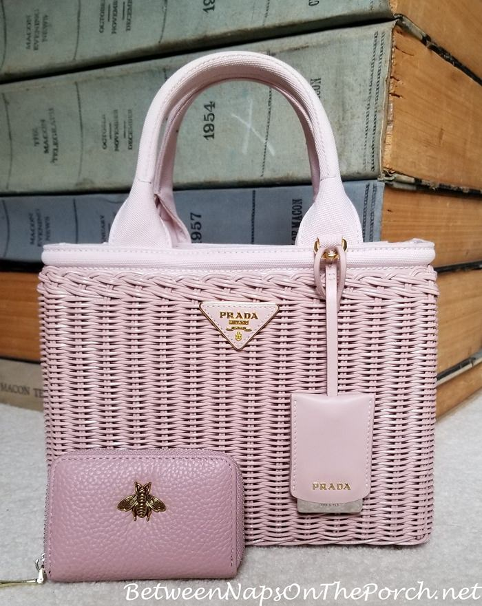 Prada Wicker Basket Bag with Matching Leather Wallet
