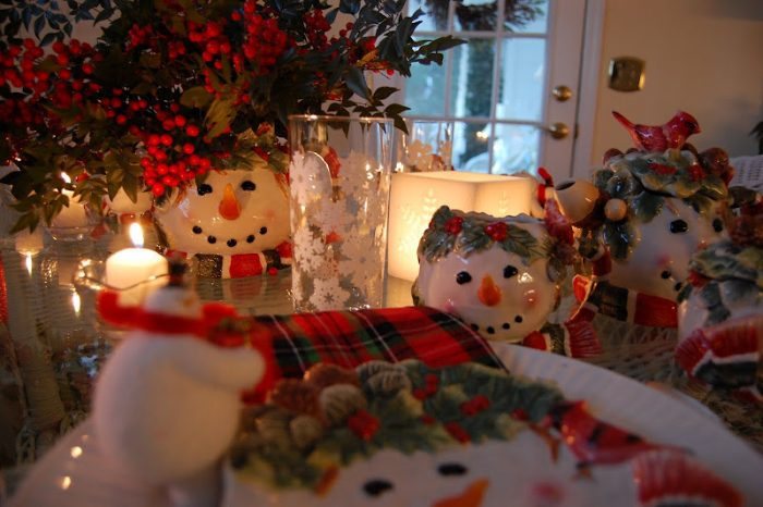 Snowman Table by candlelight