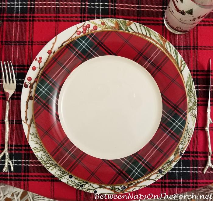 Tartan Dinner Plate in Red & Green