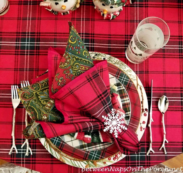 Tartan Table Setting, Twig Flatware
