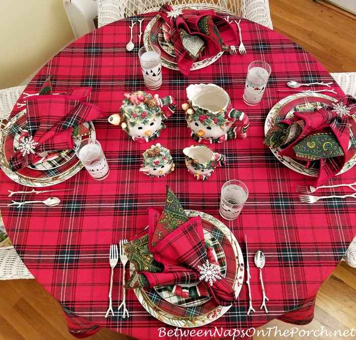 Tartan Tablescape for Winter, Snowman-Snowflake Table