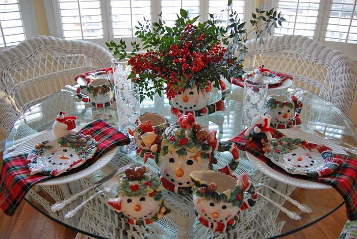 Winter Table Setting, Snowman Themed