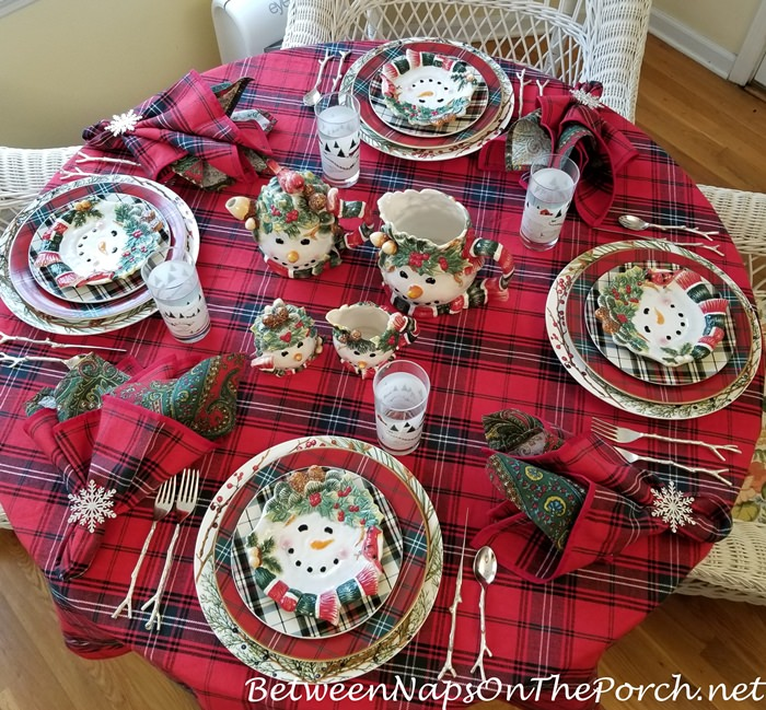 Winter Tablescape in Tartan, Snowman Plates