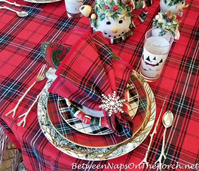 Winter or Christmas Table in Red, Green Tartan