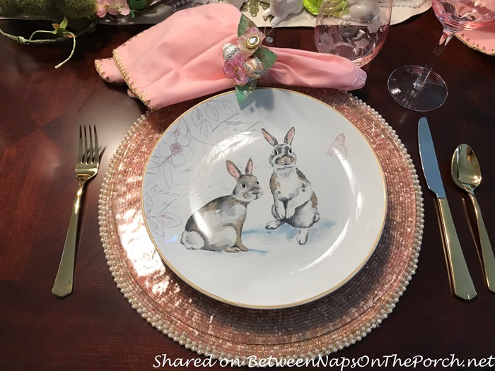 Bunny Plates in a Spring Easter Table