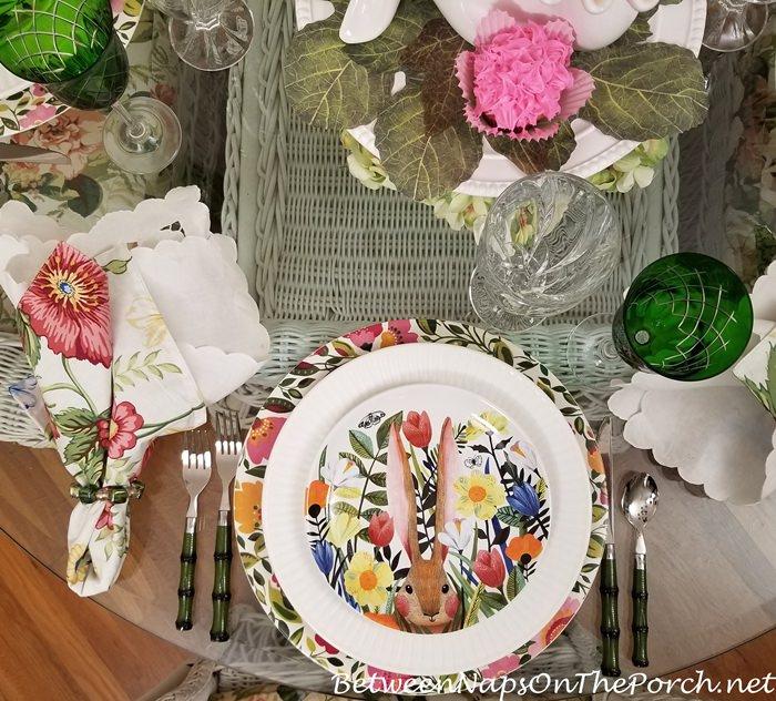 Bunny Salad Plates, Bunny in a Garden Plates