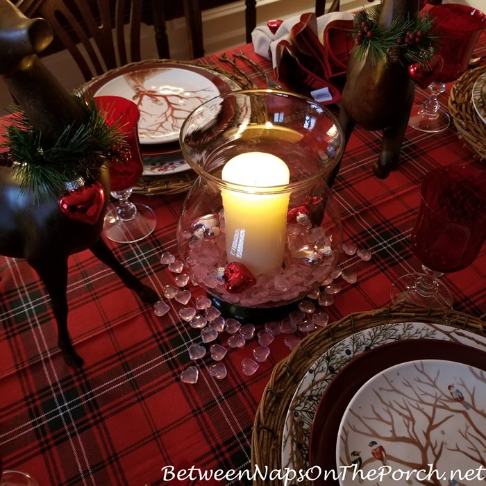 Candlelit Centerpiece for Woodland Themed Valentine's Day Table Setting