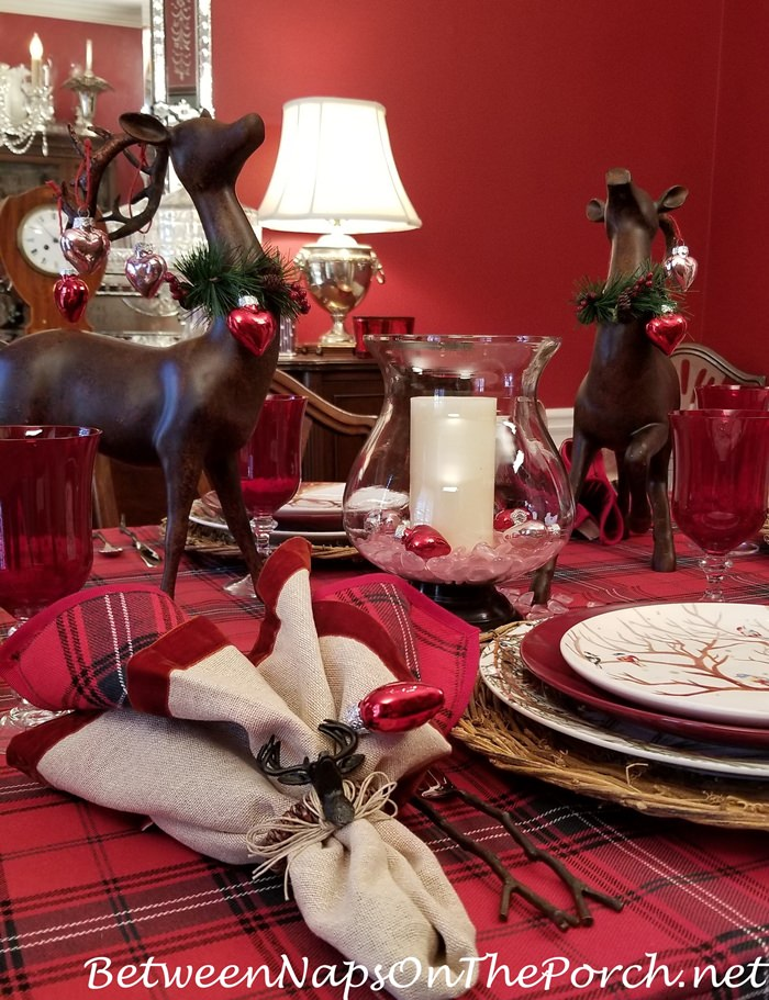 Deer for Valentine's Day Table Setting Centerpiece