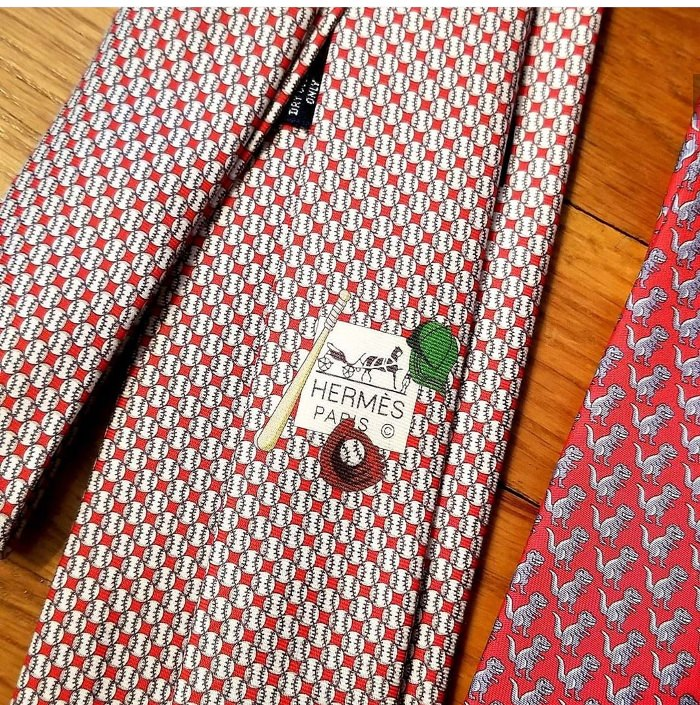 Hermes Baseball Themed Tie