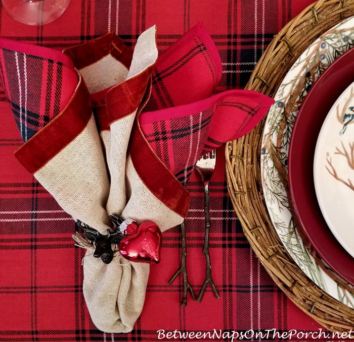 Plaid Napkins, Velvet Edged Napkins