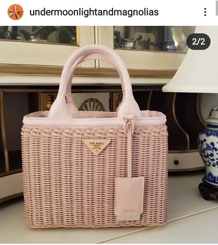 Prada Wicker Basket Bag with Leather Luggage Hang Tag
