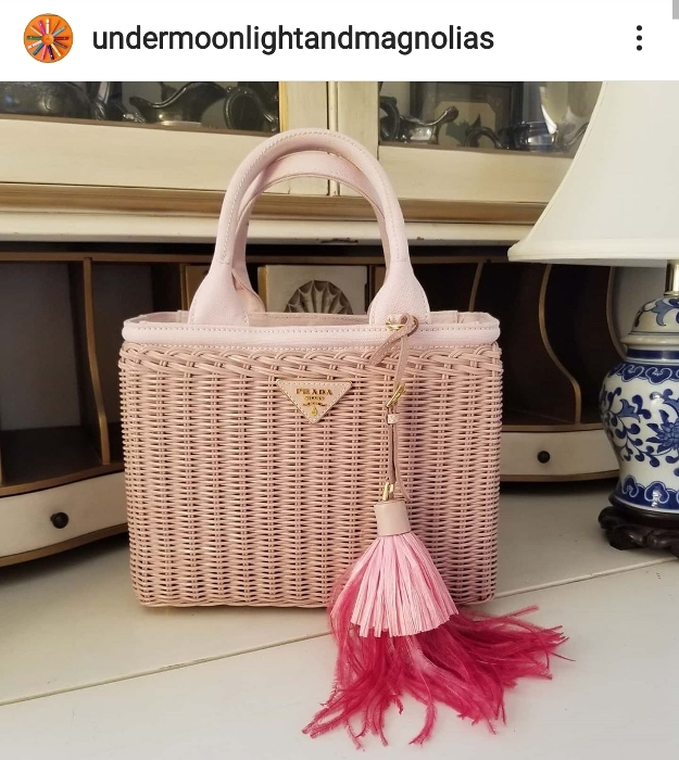 Prada Wicker Basket Bag with Raffia Feather Tassel