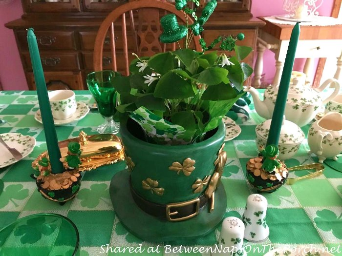 St. Patrick's Day Table Setting, Leprechaun Hat Planter Centerpiece