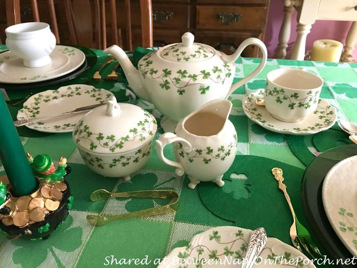 St. Patrick's Day Tea Set with Shamrocks