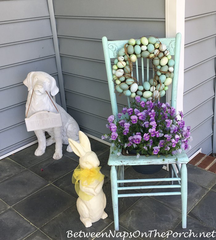 Chair Planter and Egg Wreath