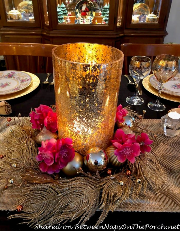 Gold Mercury Glass Candle Holder Surrounded by a Gold Wreath and Pink Apple Blossoms, Table Centerpiece