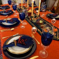 Navy and Orange Tablescape