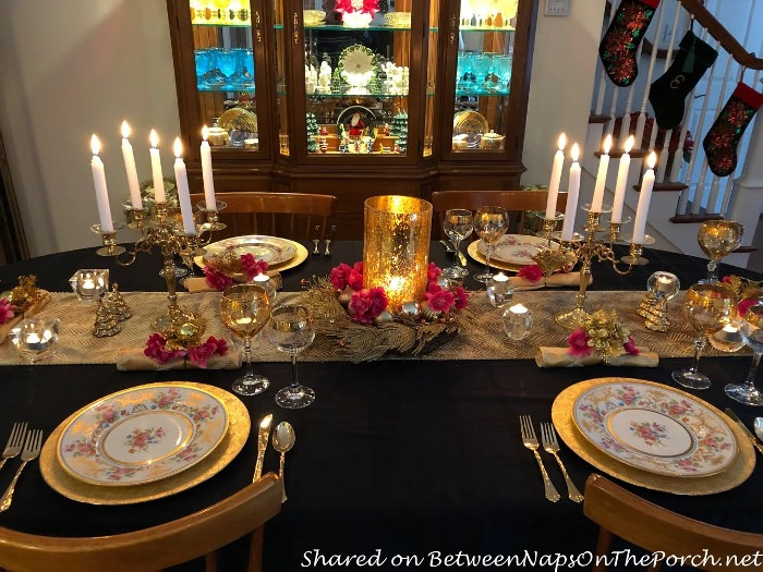 Pink, Silver and Gold Table Setting