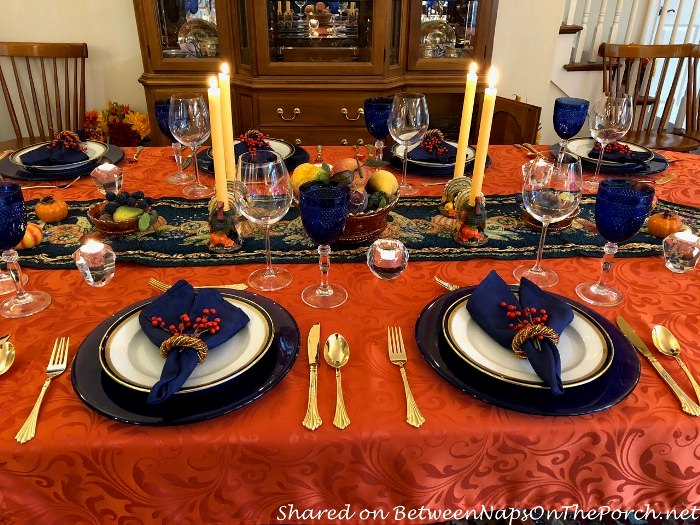 Table Setting in Orange and Navy, Perfect for Fall or Thanksgiving