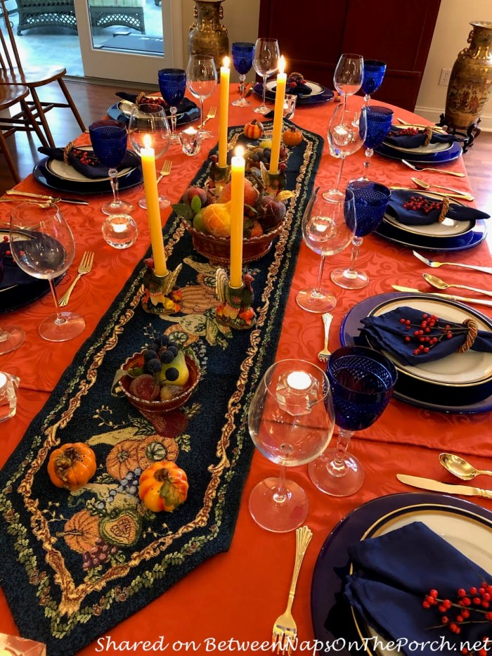 Thanksgiving-Fall Table in Blue and Orange