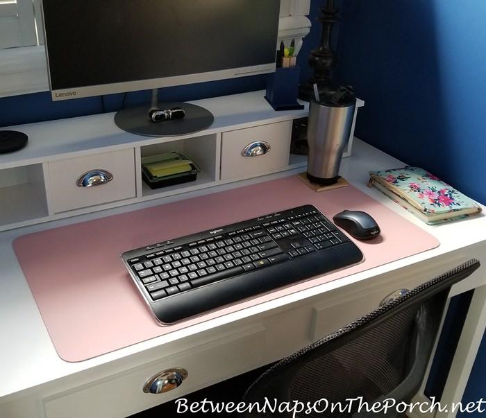 White Desk, Pink Desk Mat