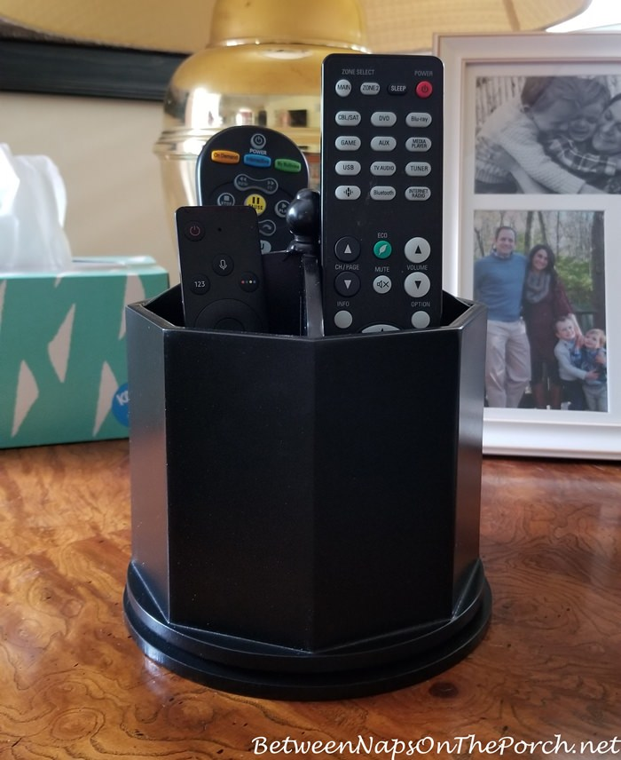 Black organizer for desk or TV remotes