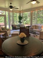 Beautiful Screened Porch with Seating, Dining, Sliding Windows, Even a Vented Grill