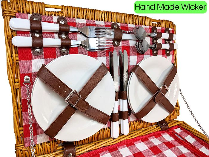 Picnic Basket with Ceramic Plates, Flatware, Glasses