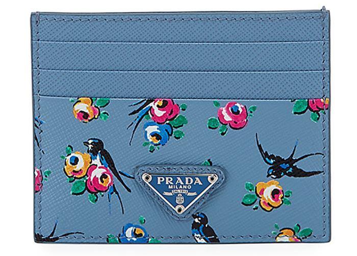 Prada Bird Card Holder in Blue