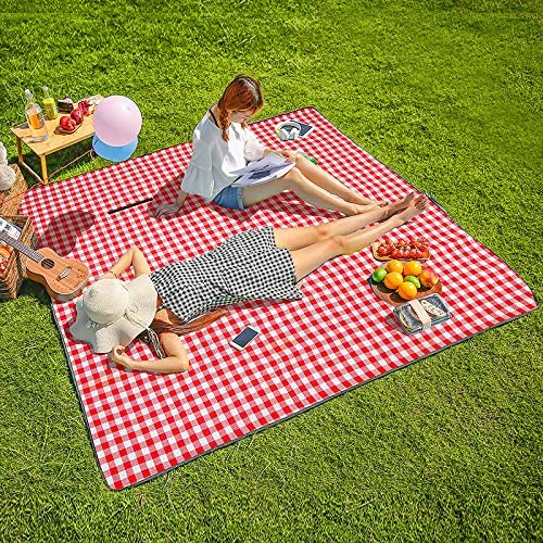 Red and White Check Waterproof Blanket for Picnics, Beach, Camping