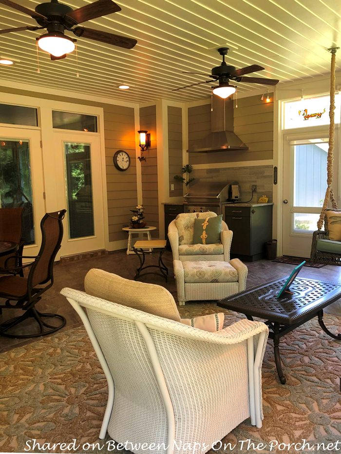Screened Porch Addition, Wicker Furniture