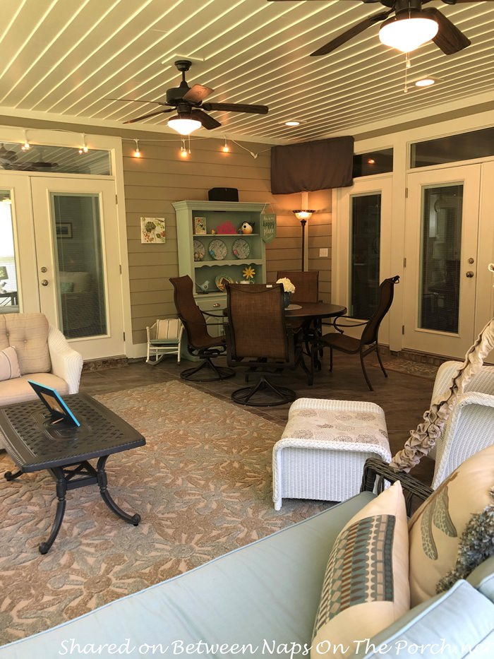 Screened Porch with TV, Hutch, Dining Space, Seating Space